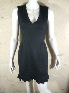 SANDRO-Taille-3-40-Superbe-robe-doublee-noire-en-lin-melange-black-dress