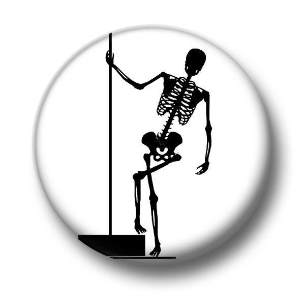 Pole Dance Skeleton 1 Inch / 25mm Pin Button Badge Emo Goth Dancer Stripper Fun