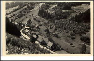Tellerhammer-Thueringen-DDR-Postkarte-1950-60-Gesamtansicht-von-oben-ungelaufen