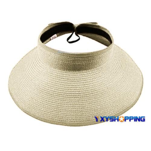 Women Floppy Straw Crushable Packable Hat Roll Wide Brim Travel Summer Visor Cap