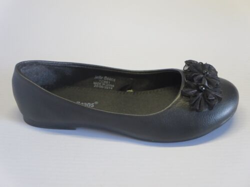 Girls Flats w// Flowers cici Youth Flower Girl White Black Off-White Pearl