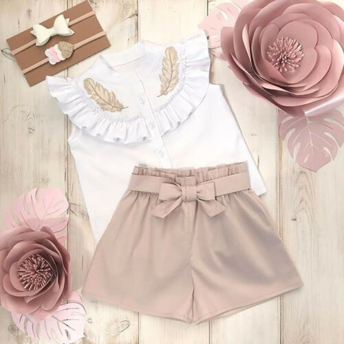 Toddler Kid Baby Girl Ruffle Top Shirt Short Pants 2pcs Outfit Clothes Summer CA