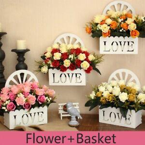 Artificial Flower Wall Hanging Rose Flower Basket Bouquet Living