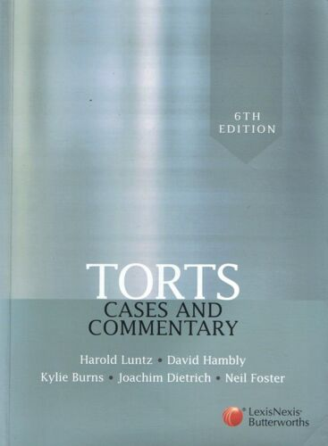 1 of 1 - TORTS: Cases And Commentary - Harold Luntz et al (p/b 2009) 6th Ed FREE EXPRESS