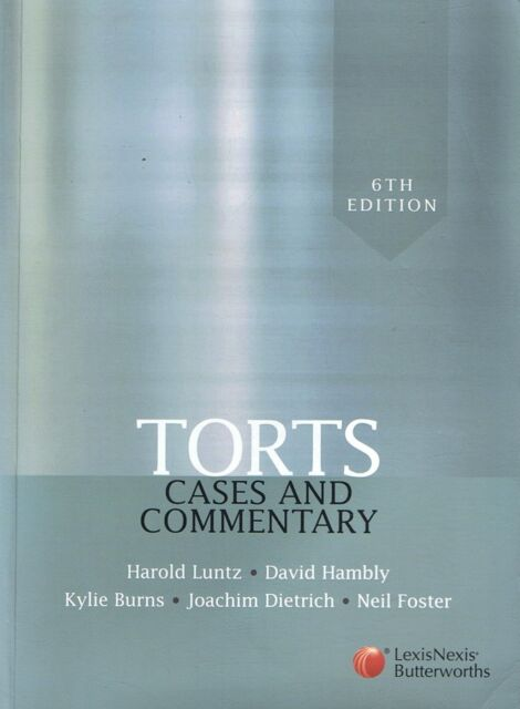 TORTS: Cases And Commentary - Harold Luntz et al (p/b 2009) 6th Ed FREE EXPRESS