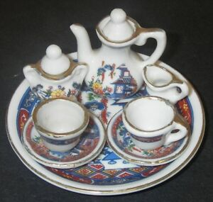 Image is loading Vintage-Miniature-Dollhouse-Doll-Dishes-Tea-Set-Porcelain- : oriental tableware set - pezcame.com