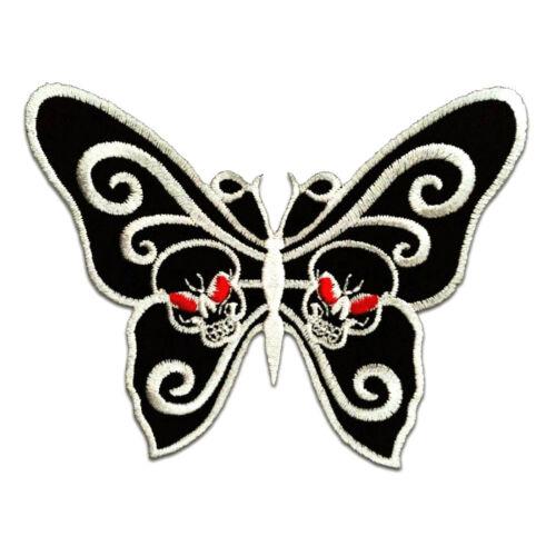 8.8 x 7.3 cm Schmetterling mit Totenkopf schwarz Aufnäher // Bügelbild