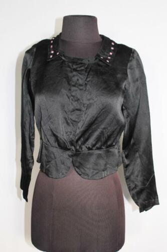 RARE FRENCH ANTIQUE EDWARDIAN BLACK EMBROIDERED S… - image 1