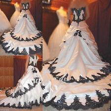 New White Black Wedding Dress Bridal Gown Custom Plus Size 4 6 8 10 12 14 16 18+