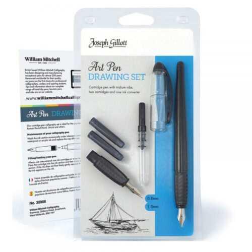 JOSEPH GILLOTT Art Pen Drawing Set avec piston Encre Remplissage /& cartouches