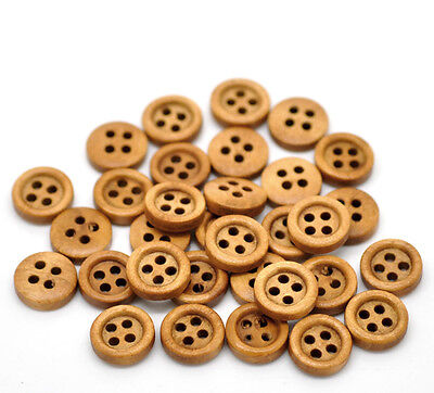 200PCs Mixed 4 Holes Round Wood Sewing Buttons Scrapbooking Coffee