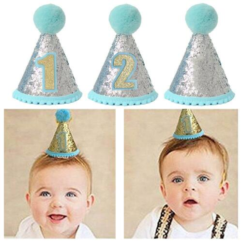 1st 2nd 3rd Pink Baby Kids Crown Birthday Party Hat Headband Hairband Headwear