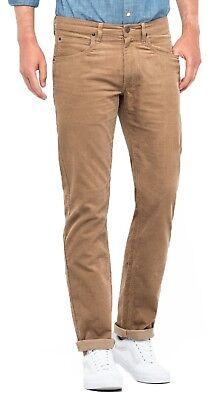 Lee Daren Zip Regular Fit Slim Burgundy Cords Stretch Corduroy Jeans Trousers