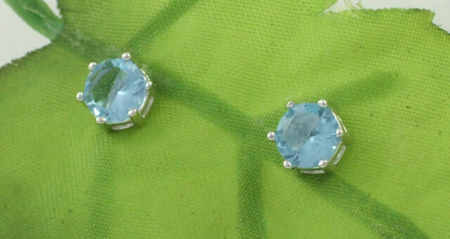Solid 925 Sterling Silver Blue Topaz Coloured Cubic Zirconia CZ Stud Earrings