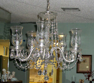Etched hurricane shade electric crystal 5 arm chandelier ebay image is loading etched hurricane shade electric crystal 5 arm chandelier aloadofball Image collections