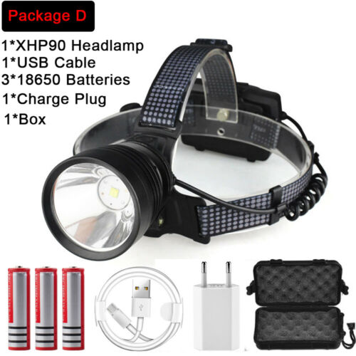 Ultra Bright 200000LM XHP90.2 LED Headlamp Rechargeable 3 Modes Headlight 18650