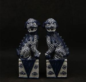 "6.7"" China Ceramics Jingdezhen Blue White Porcelain Foo Fu Dog Lion Statue Pair"