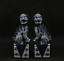 "thumbnail 1 - 6.7"" China Ceramics Jingdezhen Blue White Porcelain Foo Fu Dog Lion Statue Pair"