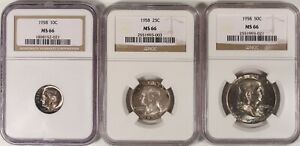 1958-NGC-MS66-Mint-Set-Toners-TRIO-Quarter-Dime-Half-Old-Silver-Coins-US-Type