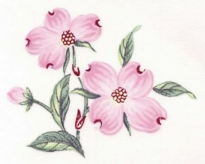 Pink Dogwood Flower Gold Accents 6 Pcs 2 Waterslide Ceramic Decals