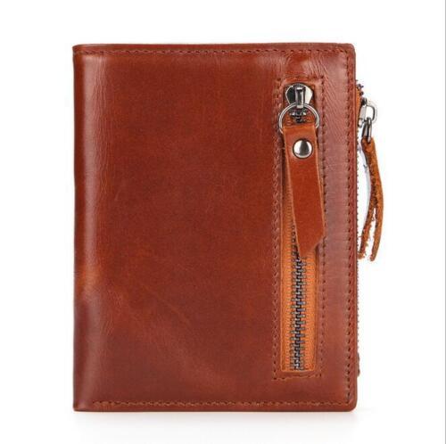 Men/'s Genuine Leather Cowhide Bifold Wallet Credit Card ID Holder Zipper Purse