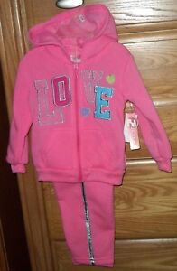 2B-REAL-GIRLS-SWEATSUIT-SIZE-12MO-18MO-24MO-PINK-SILVER-LOVE-HOOD-NWT