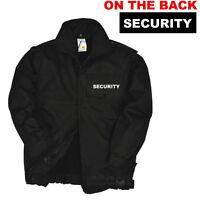Printed Security Sia Black Bomber Jacket S-3xl Doorman, Coat, Festivals.