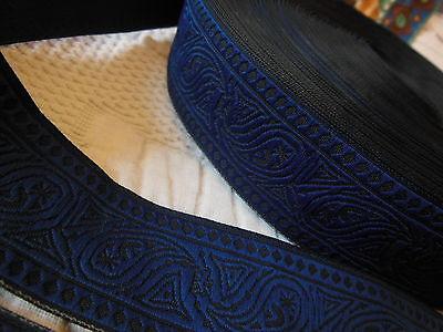 ancien galon vintage noir bleu 3 mètres sur 3 cm
