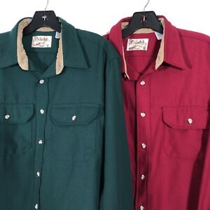 Cabela-039-s-Vintage-USA-Polyester-Long-Sleeve-Button-Shirts-Lot-of-2-Men-039-s-Size-L