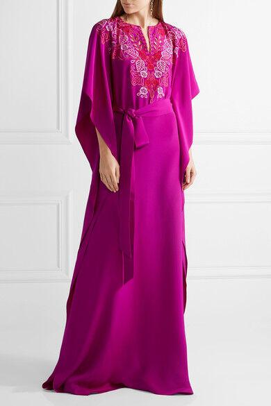 2990 New 17 Resort Oscar de la Renta Fuchsia Pink Embroidery Caftan Dress S M L