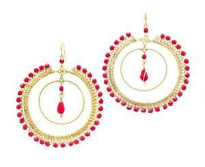 GORGEOUS-Artisanal-Coral-Red-Crystals-Gold-Lace-Wire-Rings-Chandelier-Earrings