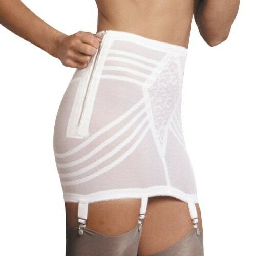 Rago Shapewear Firm Control Side Zip Open White Garter Girdle Size 26 Small