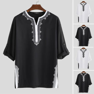 Men-Women-3-4-Sleeve-Kaftan-African-Mexican-Hippy-Poncho-Casual-Top-T-Shirt-Tee