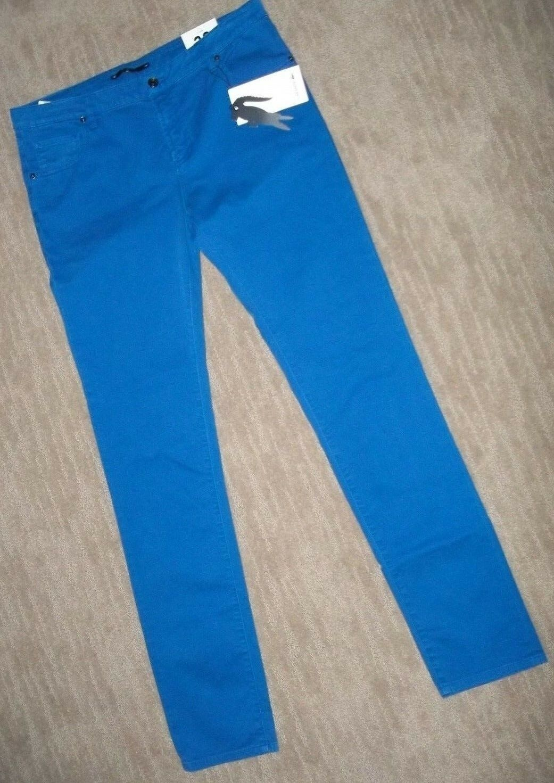 LACOSTE Slim Fit SKINNY Royal bluee Denim JEANS womens Sz 34 Waist 14 LONG