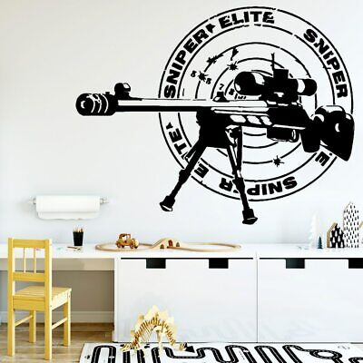 Cartoon Sniper Rifle Wall Stickers For Living Room Company Office Decoration