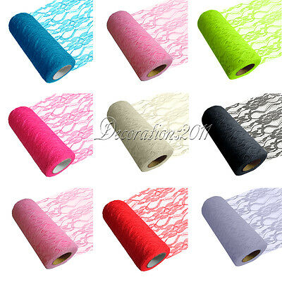 "1/2/5/10 Lace Rolls 6""x10Y Tulle Wedding Chair Sash Venue Fabric Table Decor"