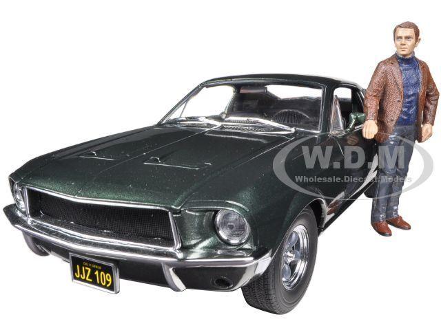 1968 FORD MUSTANG GT BULLITT avec Steve McQueen Figure 1 18 vertlight 12885