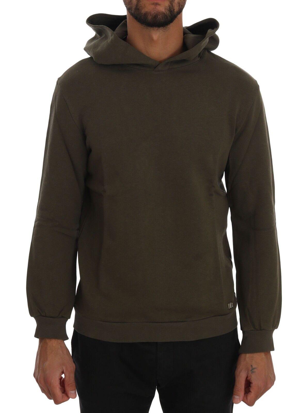 NEW 200 DANIELE ALESSANDRINI Sweater Grün Pullover Hodded Cotton  Herren s. XL