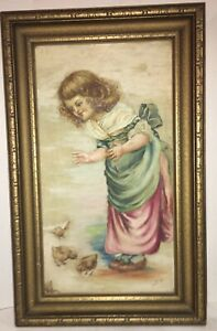 FINE Antique Oil Painting of Girl wChicks Signed Lucette