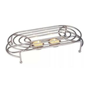 DOUBLE FOOD WARMER BAMBOO STAINLESS STEEL CANDLE BURNER HEAT FOOD WARM