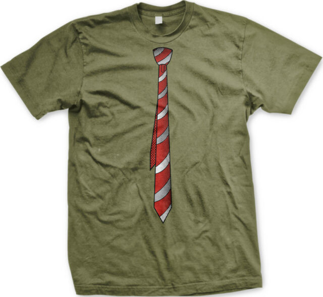 Red Fake Necktie Tie Office Hipster Nerdy Geek Formal Punk Funny Men/'s T-shirt