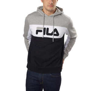 5f2ab3435ae6 82-A Fila Mens Hoodie Heather Gray Grey White Black Fleece Logo ...