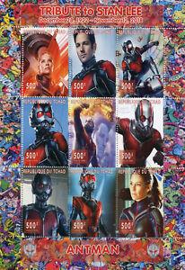 Chad-2018-CTO-Antman-Stan-Lee-Superheroes-9v-M-S-Comics-Movies-Stamps
