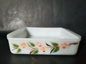 Fire-King-Gay-Fad-Peach-Blossom-8-034-Square-Brownie-Baking-Dish-Gold-Leaves-452