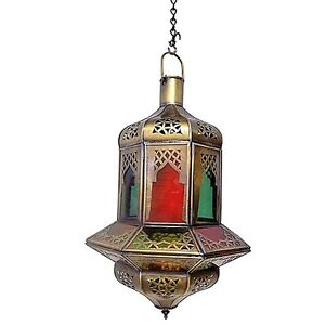 Moroccan Hanging Pendant Lantern Carved Brass Finish