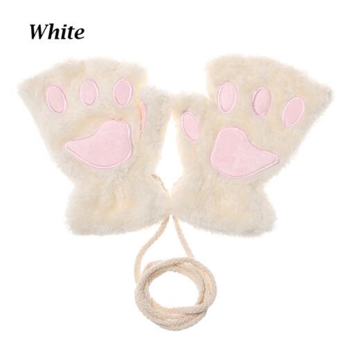 Winter Warm Children Mittens Gloves Fluffy Warm Plush Lovely Cat Claw Gloves
