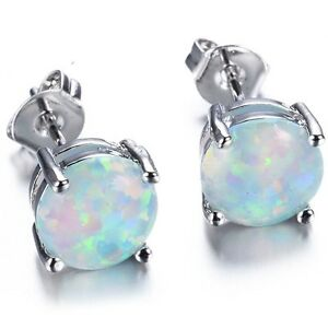 e97df5ce1 6MM Australia Fire Opal Stud Earring Genuine 925 Sterling Silver ...