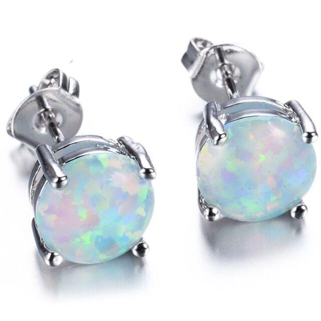 6mm Australia Fire Opal Stud Earring Genuine 925 Sterling Silver Wedding Party
