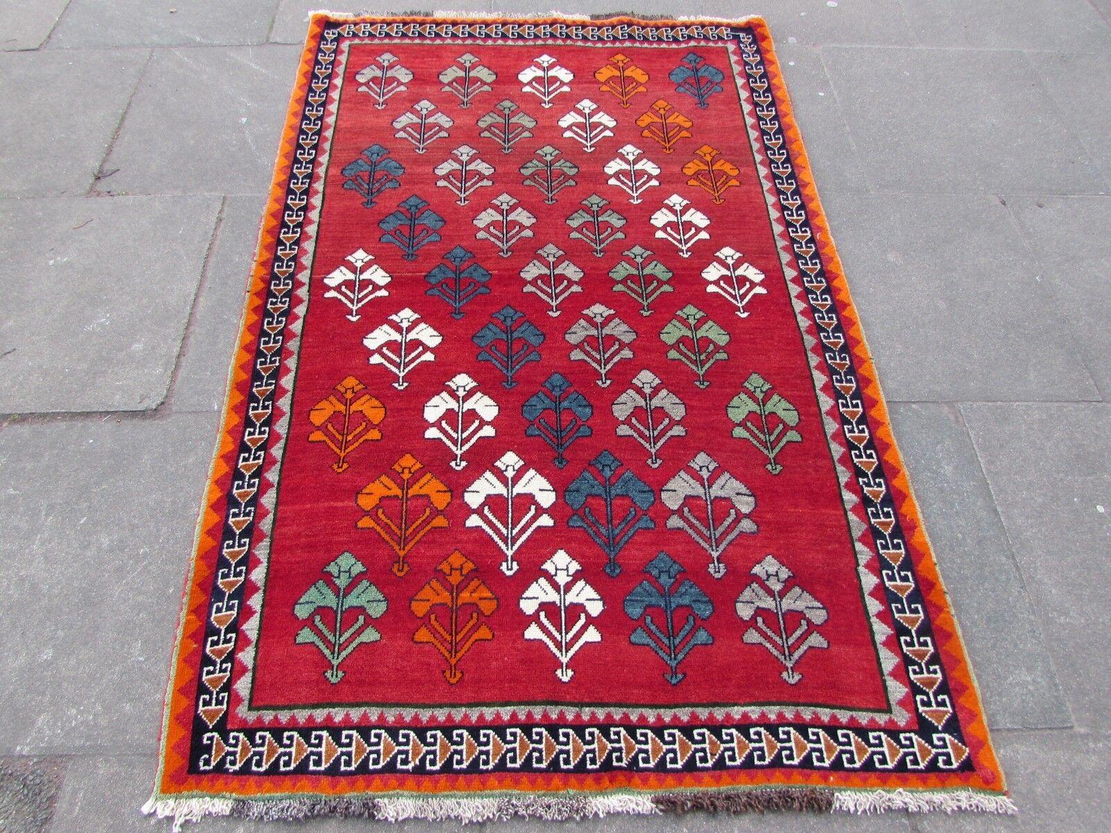 Tradicional Old Hecha a Mano Gabbeh Alfombra Oriental Rojo Lana Persa 195x125cm