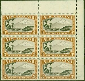 New-Zealand-1942-3s-Chocolate-amp-Yellow-Brown-SG590cvar-Major-Re-Entry-CP-L14g